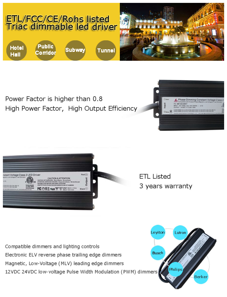 Etl Ce Listed Triac Dimmable Dc Power Supply 200wled Sign Driver Control For Triacs Specifications Of