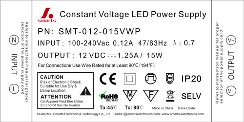 Ultra slim Constant Voltage LED Driver 12v 18w 15w