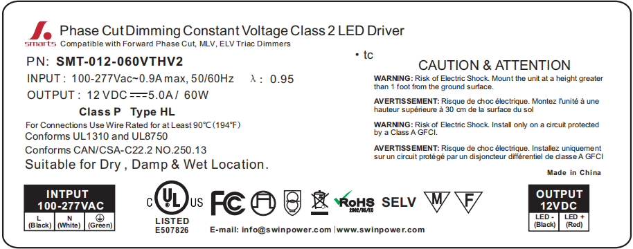 triac dimmable led driver 12v 60w led power supply