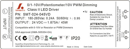 waterproof 24v 45w 0-10v dimmable led power supply
