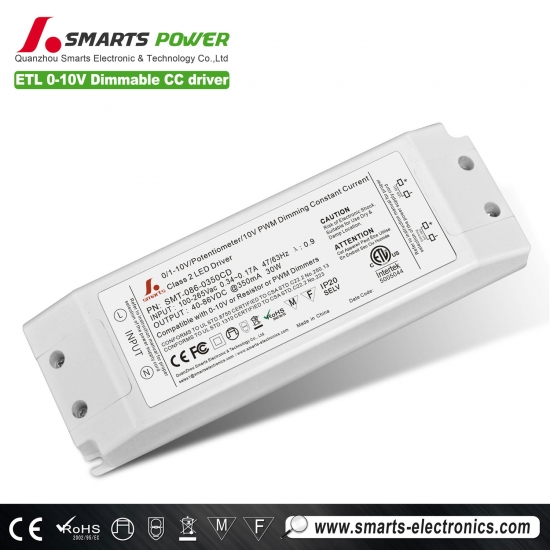 0-10v Dimmable LED Driver,30w led power supply,350ma led driver