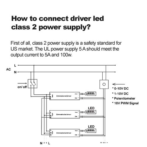 How to connect driver led class 2 power supply?