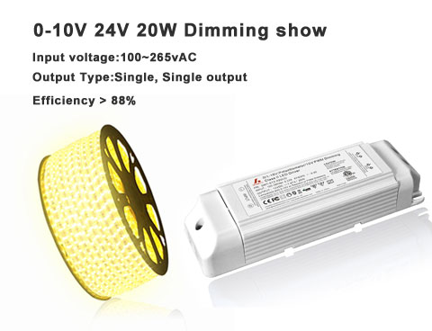 0-10v dimming show- The introduction of 24v 20W constant voltage led driver